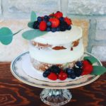 berry themed elopement cake